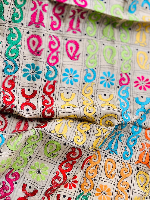 Pure Tussar Silk Kantha Silk Hand Embroidered Dupatta