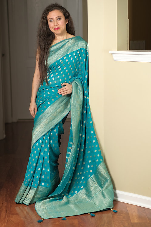 Pure Crepe Georgette Banarasi Saree in Turquoise, Silver and Gold