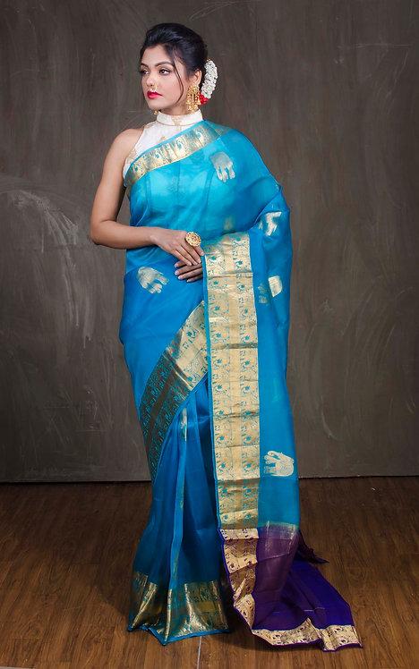 Kanchi Organza Saree in Blue and Gold