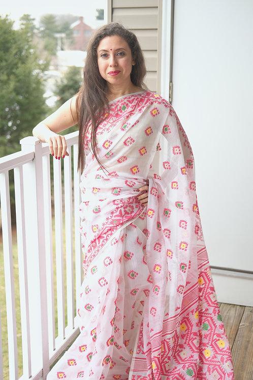 Minakari Soft Jamdani Saree in White, Red, Yellow and Green