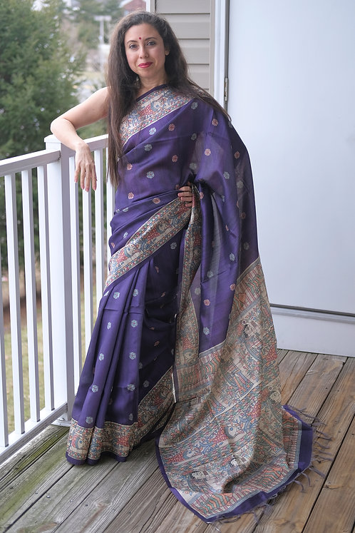 Art Silk Printed Gicha Tussar Saree in Purple and White