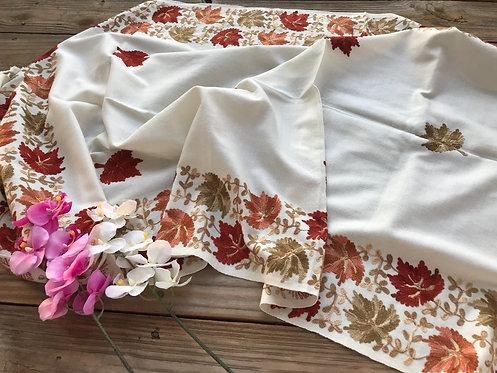 Kashmiri Embroidery Work Wool Stole in Cream