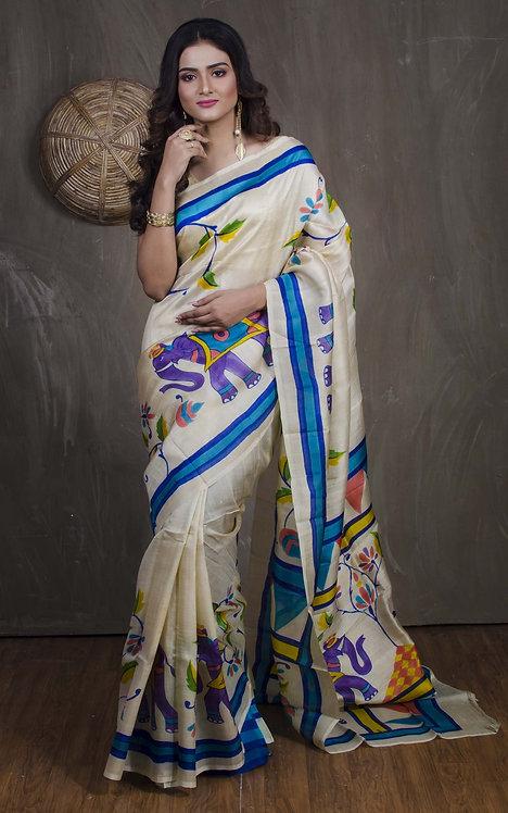 Printed Pure Silk Saree in Cream and Blue