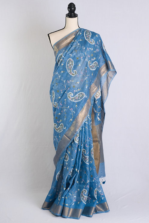 Embroidery Silk Linen Saree in English Blue and Gold