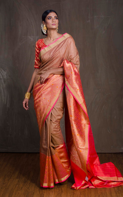 Kora Banarasi Saree in English Pink, Orange and Antique Gold