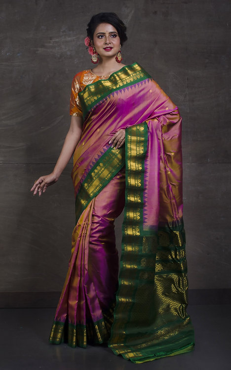 Gadwal Silk Saree in Pink and Dark Green
