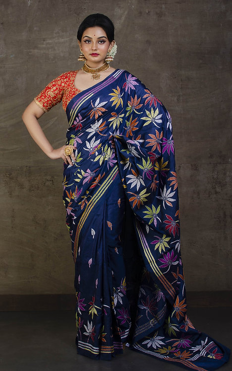 Hand Embroidery Kantha Stitch Saree on Pure Silk in Midnight Blue