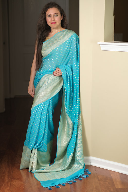 Pure Khaddi Georgette Banarasi Saree in Blue and Silverish Gold