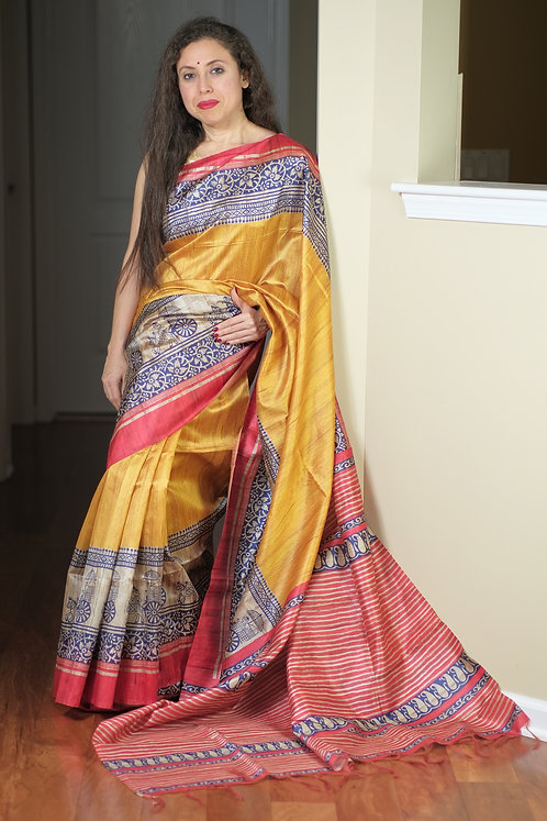 Art Silk Printed Gicha Tussar Saree in Yellow, Blue and Red