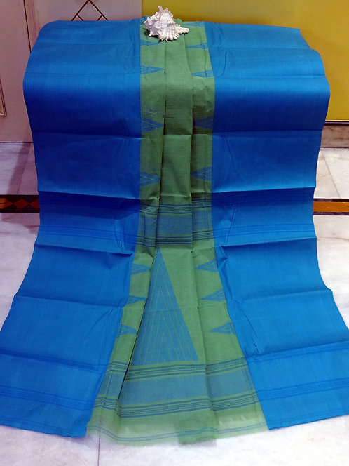 Bengal Handloom Cotton Saree with Starch in Green and Blue