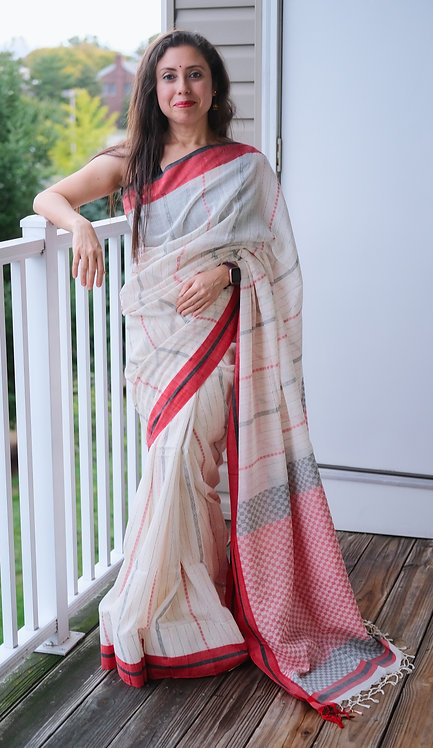 Khadi Soft Cotton Saree in Off White, Black and Red