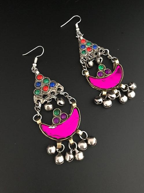 Afghan Tribal Earrings in Hot Pink