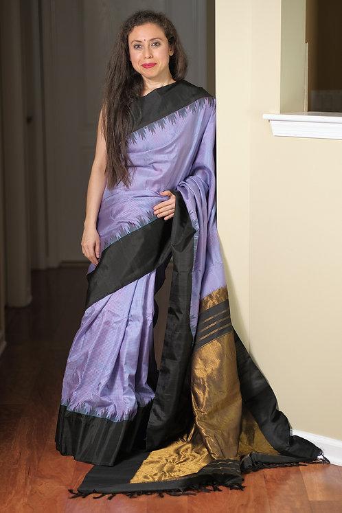 Gadwal Silk Saree with Micro Checks in Mauve, Black and Gold