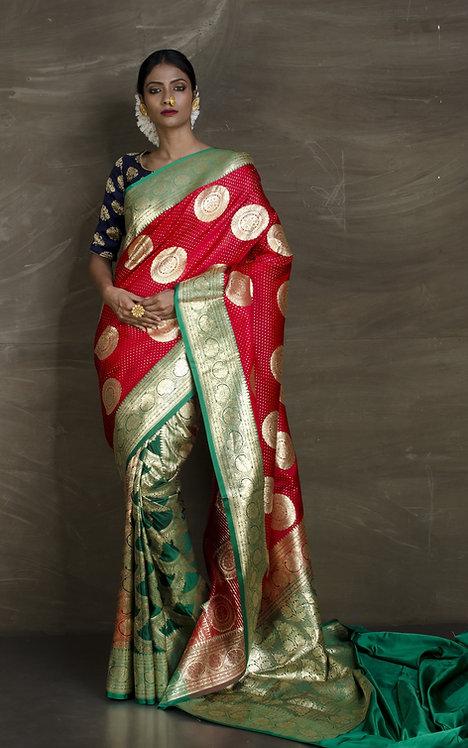 Art Silk Patli Pallu Traditional Banarasi Saree in Red and Dark Green