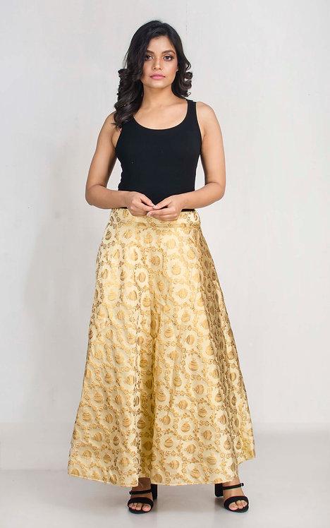 Banarasi Silk Flared Long Skirt in Gold , Size M