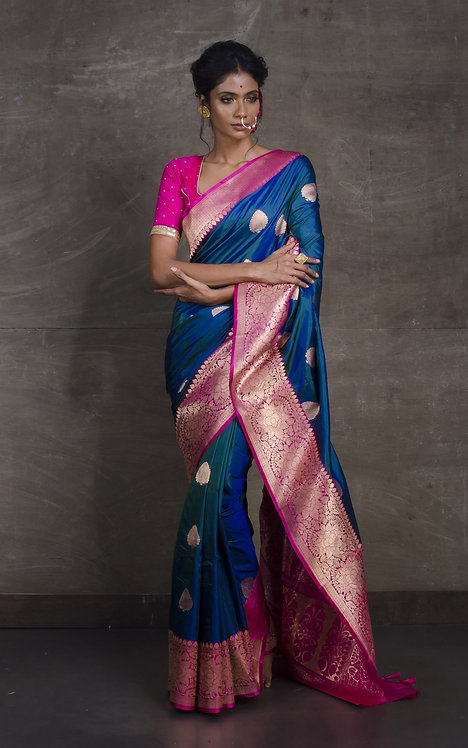 Banarasi Silk Saree in Peacock Blue and Pink