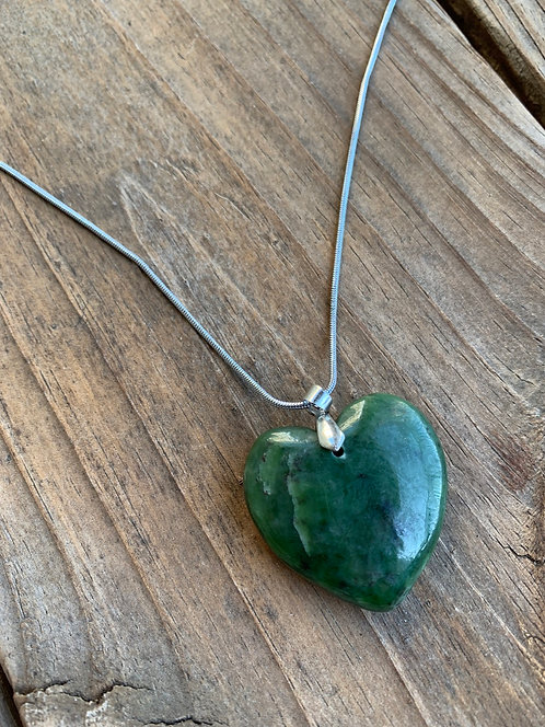Real Nephrite Heart Shaped Naturally Handmade Jade Pendant