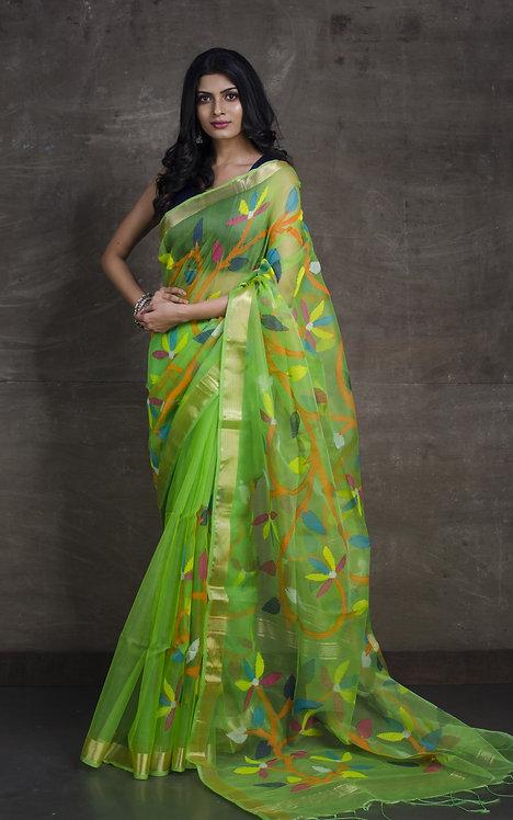 Muslin Jamdani Saree in Parrot Green and Gold