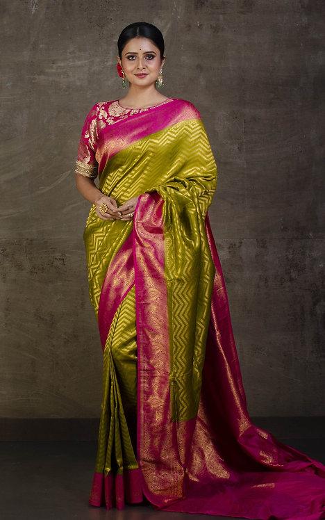 Semi Silk Banarasi Saree in Pistachio Green and Red