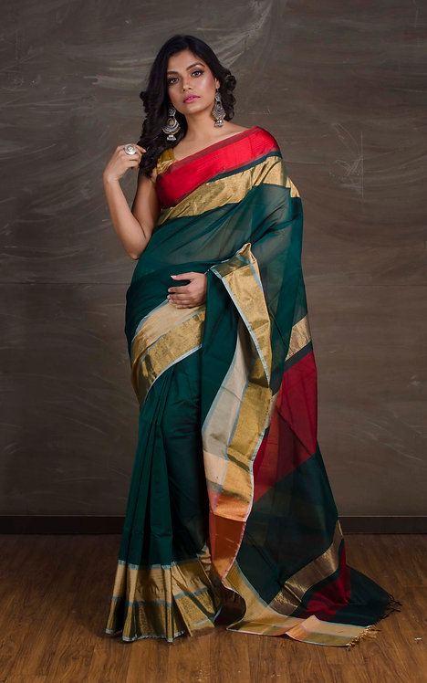 Khadi Maheshwari Cotton Silk Saree in Dark Green