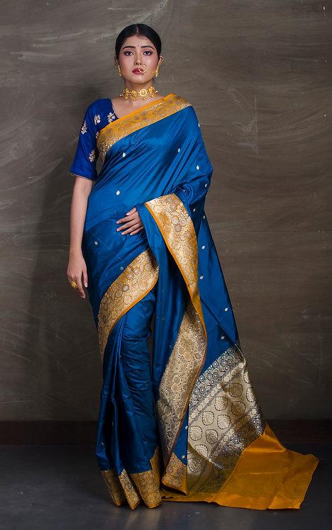 Pure Banarasi Silk Saree in Cobalt Blue and Yellow
