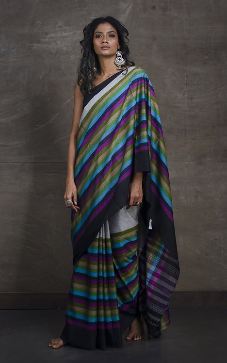 Designer Bengal Handloom Soft Cotton Saree in Gray and Black