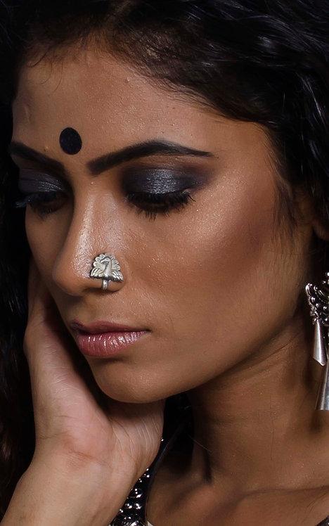 Pure Silver Nose Pin in Peacock Design