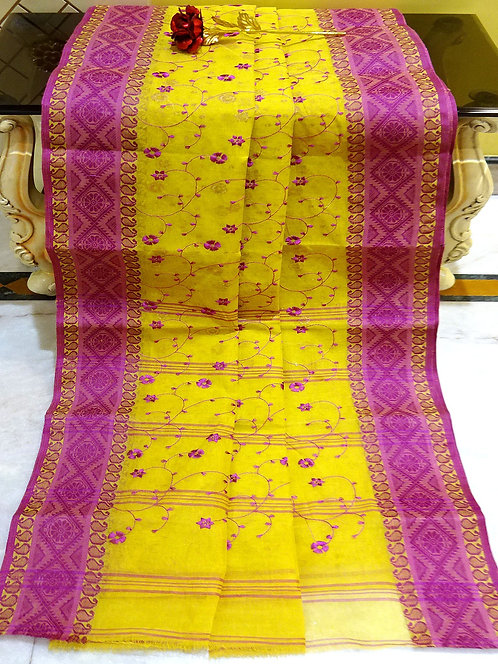 Bengal Handloom Cotton Embroidery Saree with Starch in Yellow and Purple