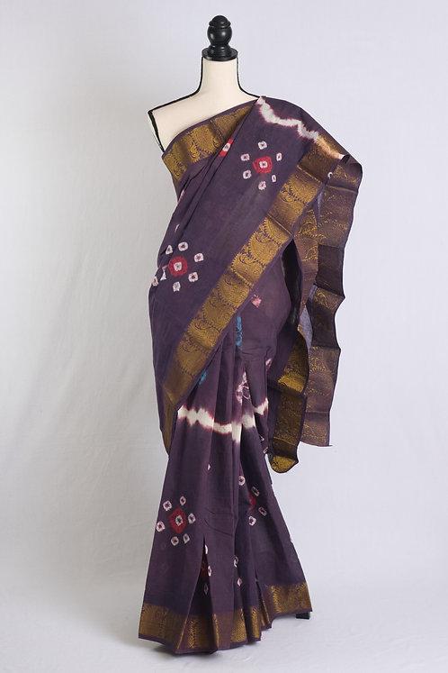 Hand Batik Pure Cotton Kanjivaram Saree in Purple