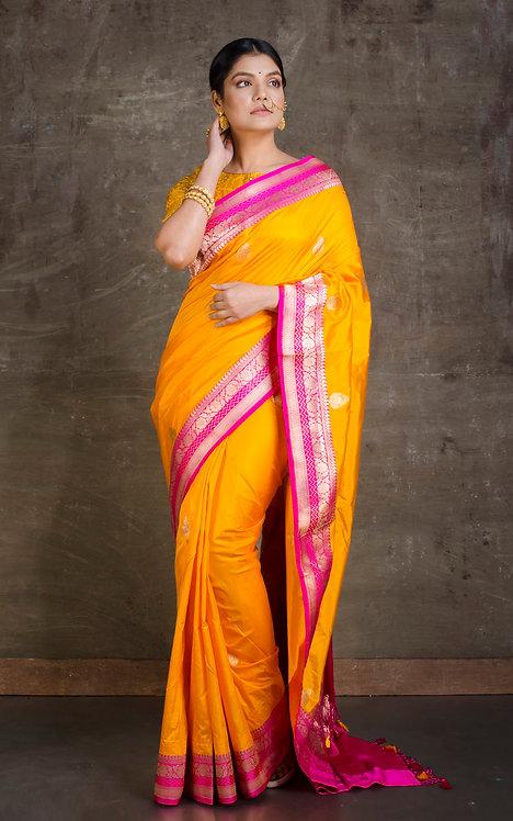 Pure Katan Silk Banarasi Saree in Orange and Hot Pink