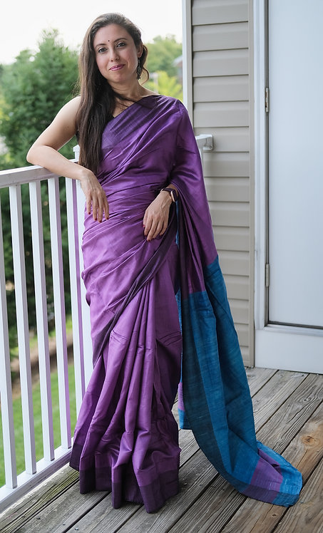 Staple Tussar Silk Saree in Violet and Blue