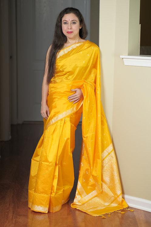 Banarasi Katan Silk Saree in Bright Yellow and Silver