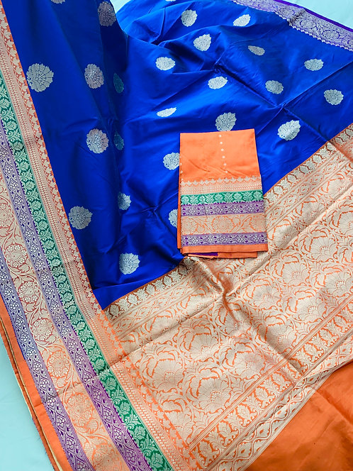 Pure Banarasi Katan Silk Saree in Royal Blue, Orange, Green and Purple