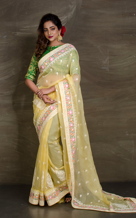 Embroidered Organza Party Wear Saree in Light Yellow