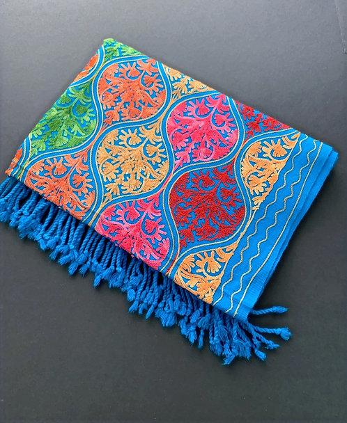 Full Body Work Pure Kashmiri Work Woolen Stole in Turquoise