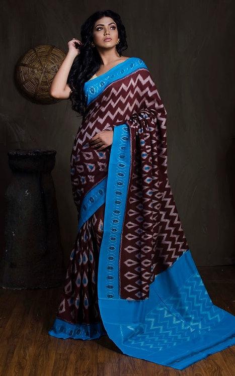 Mercerized Cotton Pochampally Saree in Dark Brown and Blue