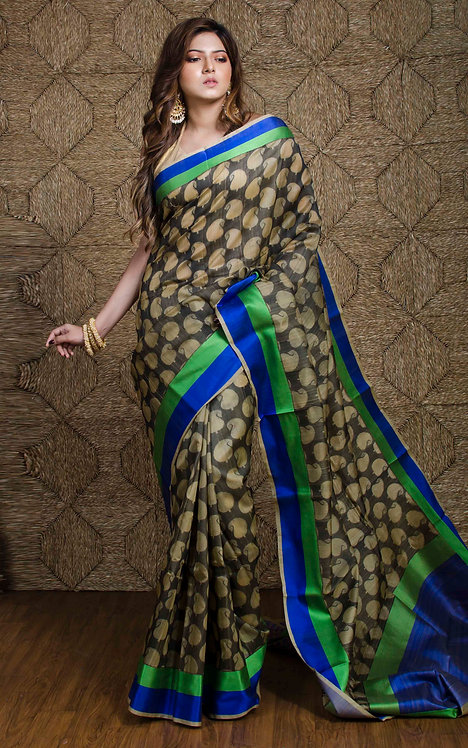 Tussar Banarasi Saree with Woven Satin Border in Beige and Black