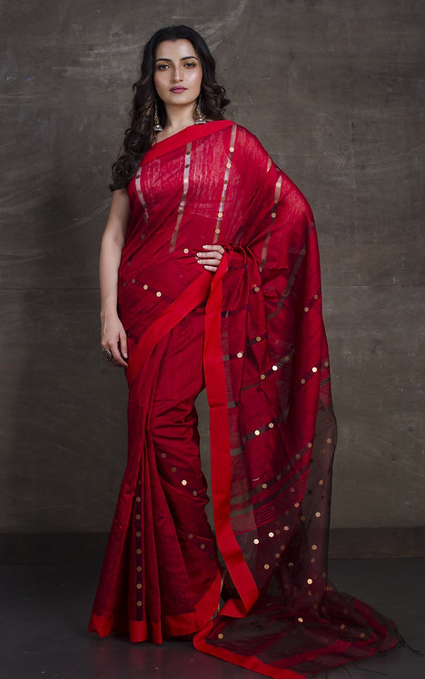 Matka Tussar Saree with Sequin in Dark Red