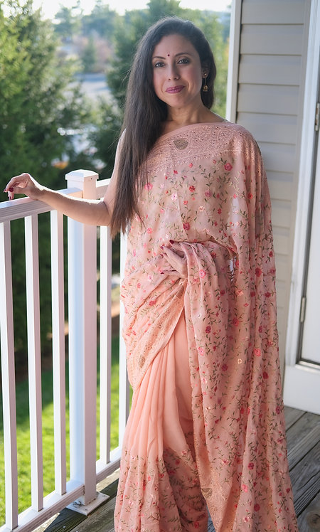 Designer Party Wear Kashmiri Embroidered Chiffon in Peach and Gold