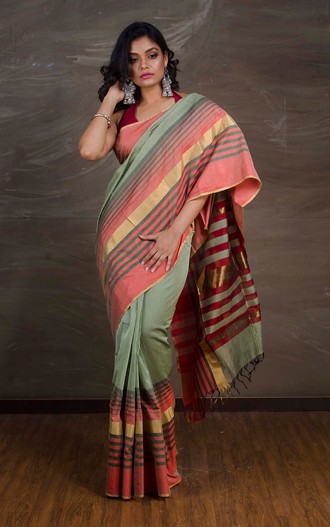 Maheshwari Cotton Silk Saree in Light Pista Green, Red and Gold