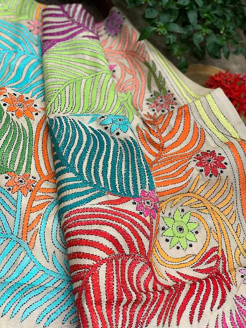 Hand Work Kantha Stitched Dupatta on Pure Tussar Silk
