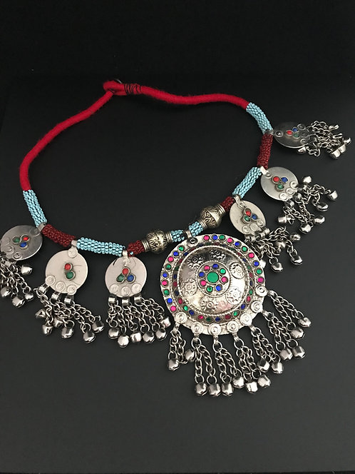 Afghan Tribal Handmade Necklace with Glass Stones and Beads