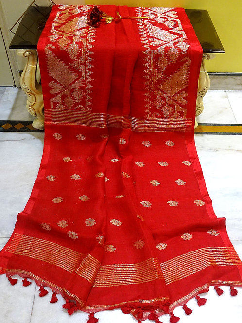 Linen Jamdani Saree in Red and Brushed Gold