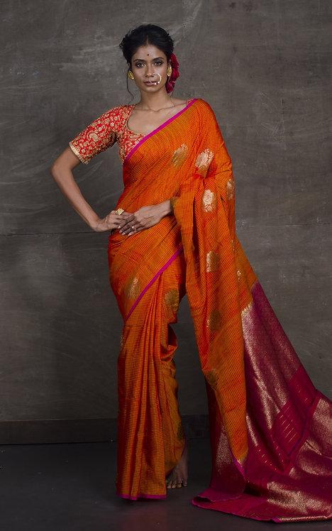 Pure Dupion Tussar Banarasi Saree in Orange and Magenta