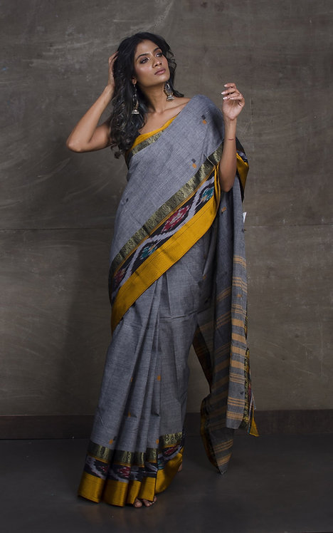 Bengal Handloom Cotton Kotki Border Saree with Starch in Grey and Yellow