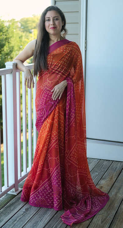 Printed Bandhani Saree in Orange and Rani
