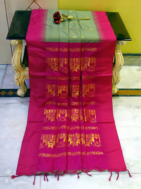 Soft South Cotton Gadwal Saree in Sage Green and Hot Pink