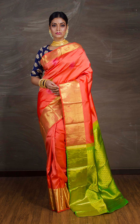Premium Quality Kanjivaram Silk Saree in Peach and Green
