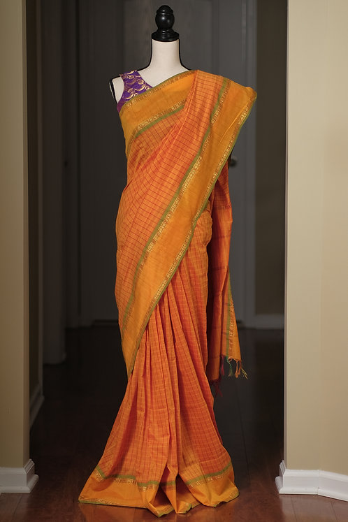 Blended Soft Cotton Narayanpet Saree in Orange, Green and Gold