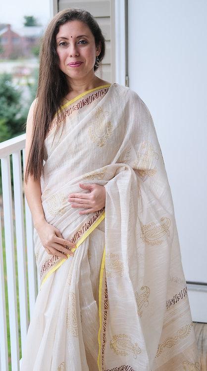Block Printed Zari Linen Saree in Cream, Maroon and Gold